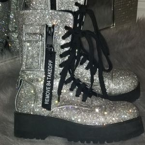 Blinged out combat boots!